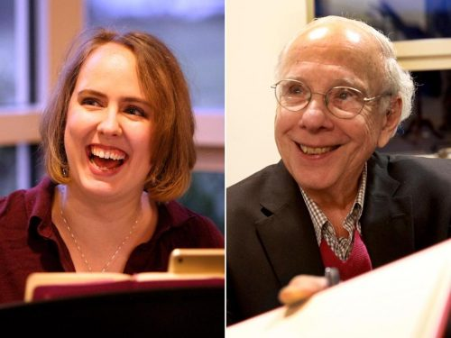 """Composer Erin Murray Quinlan (left) and author Larry Ruttman at a reading of """"Jews on First'' at Temple Shalom in Newton. (Photo credit: John Blanding/Globe Staff)"""