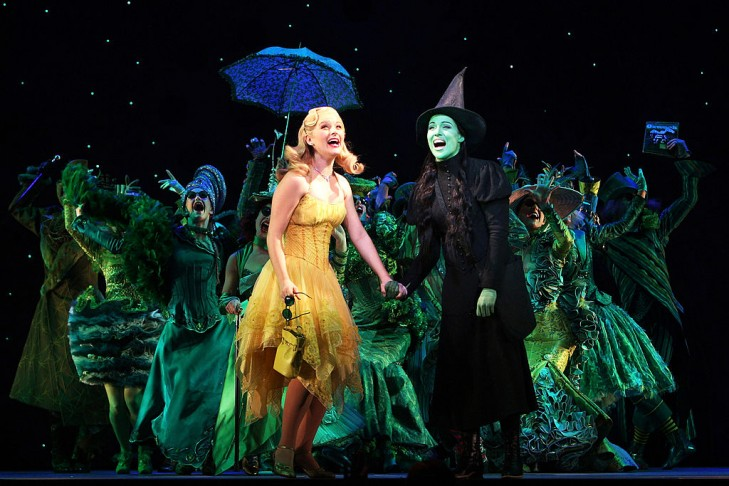 """MELBOURNE, AUSTRALIA - JULY 11:  Lucy Durack performs as Glinda, the Good Witch and Amanda Harrison performs as Elphaba, the Wicked Witch during a photo call for """"Wicked"""" at the Regent on July 11, 2008 in Melbourne, Australia. (Photo by Kristian Dowling/Getty Images)"""