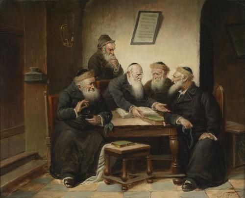 At the Rabbi's by Carl Schleicher (1825-1903)