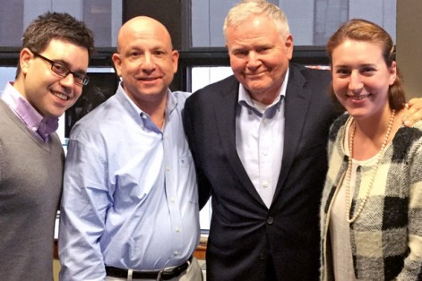 CJP President Barry Shrage with JewishBoston staff Jesse Ulrich, Jeff Levy and Kali Brodsky, from left