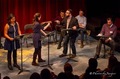 Actors Shanae Burch, Sarah Paton, Bari Robinson, Matt Spano, Jesse Garlick and David Winitsky, from left. (Photo credit: Jerry Jaeger)