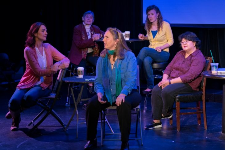 "Ursina Amsler, Renee Miller, Susan Thompson, Melissa Bergstrom and Vivian Liu-Somers, from left, portray prominent Boston-area bloggers in ""Blogging Unplugged."" (Photo credit: Tom Hill)"