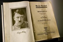 A copy of 'Mein Kampf,' on display at the Documentation Center in Nuremburg, Germany, Nov. 4, 2012. (RUSS JUSKALIAN/THE NEW YORK TIMES)