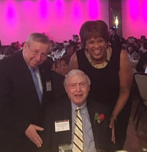 MASS ALFA Richard Moore, President of MA ALFA; Bill Needleman, 101 year-old resident at Kaplan Estates and Reverend Liz Walker, event emcee.