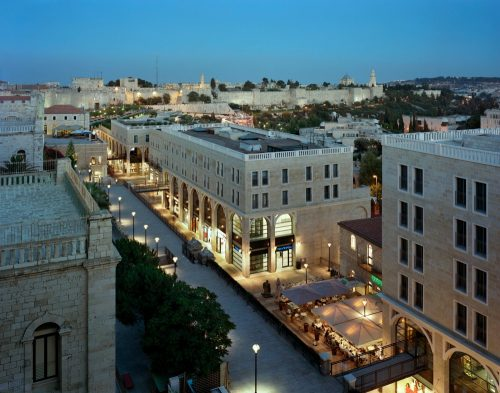 Mamilla Center_Night view, old city wall in background_image by Timothy Hursley_CP