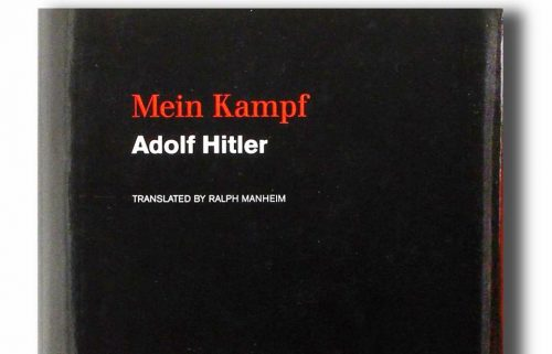 "Adolf Hitler's ""Mein Kampf"" is published by Boston-based Houghton Mifflin Harcourt. (LANE TURNER/GLOBE STAFF)"