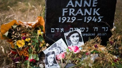 This file photo taken on June 21, 2015, shows a memorial stone for Anne Frank and her sister, Margot, on the grounds of the former Prisoner of War (POW) and concentration camps Bergen-Belsen in Bergen, north of Hanover, central Germany, on June 21, 2015. (AFP/NIGEL TREBLIN)
