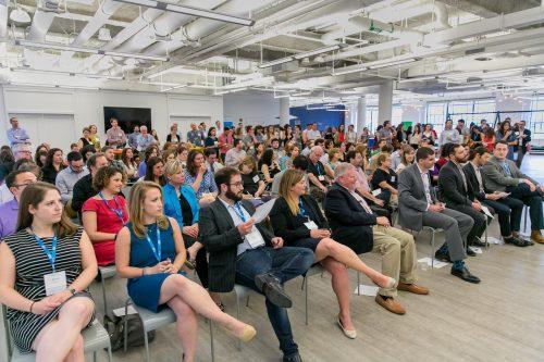 The PresenTense Boston Social Innovation Showcase was held at Hatch Fenway in Boston's Landmark Center. (Photo credit: Nir Landau)