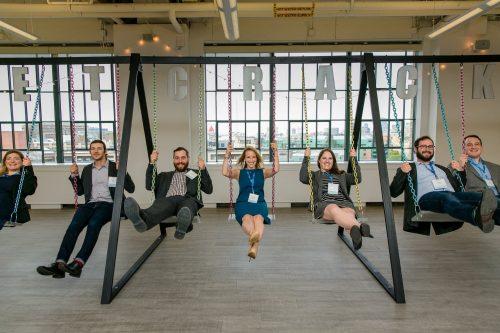 The 2015-16 PresenTense Boston fellows, from left: Bryanne Mahoney, Ben Elgart, Getzel Davis, Julie Judson, Alexis Gewertz, Andy Pankin and Mark Rudnick. (Photo credit: Nir Landau)