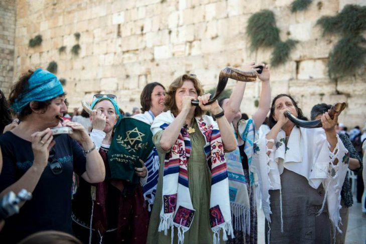 Anat Hoffman, center, at the Western Wall in Jerusalem (Photo credit: Danielle Shitrit for Women of the Wall)