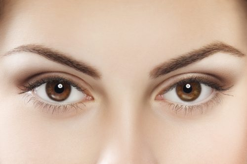 Close up image of female brown eyes