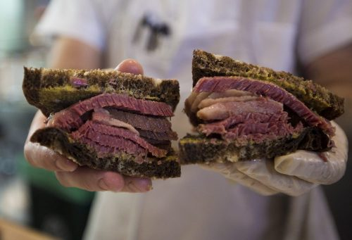 """A close up of the """"No. 2"""" at Mamaleh's Delicatessen—hot corned beef on rye with mustard. (Jesse Costa/WBUR)"""