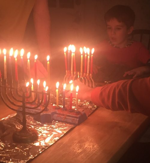 Andy celebrating Hanukkah