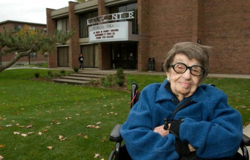 In 2008, Goldie Michelson was shown in front of the theater that bears her name. (CLARK UNIVERSITY)