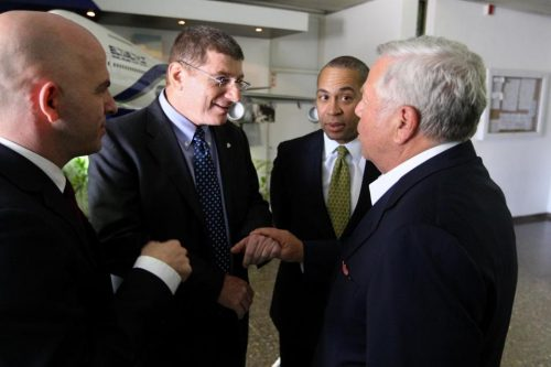 Governor Deval Patrick led several trips to Israel, including one in 2011 with Robert Kraft, owner of the New England Patriots. The pair met with Shai Bazak (left), consul general of Israel in New England, and Major General Eliezer Shkedi, chief executive of El Al airlines. (JONATHAN WIGGS/GLOBE STAFF/FILE)
