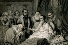 The last moments of Calvin (Barcelona: Montaner y Simón, 1880–1883)