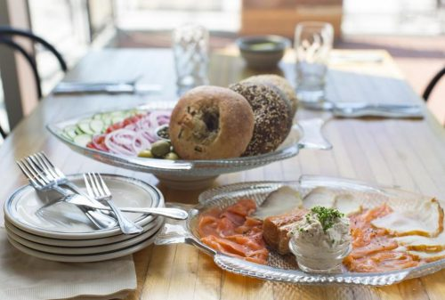 The fish platter—a variety of cured and smoked fish—with bialy and bagels at Mamaleh's. (DINA RUDICK/GLOBE STAFF)