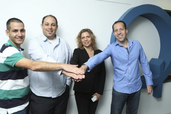 Rotem and Omri Shor (MediSafe) and Merav and Mony Hassid (Qualcomm Ventures) pose after MediSafe was awarded Qualcomm Ventures' QPrize for start-up excellence