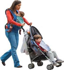 stroller and mom