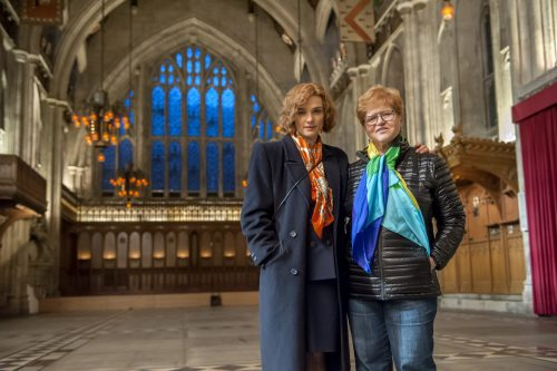 "Actor Rachel Weisz and author Deborah E. Lipstadt on the set of their film ""Denial,"" a Bleecker Street release. (Photo credit: Liam Daniel/Bleecker Street)"