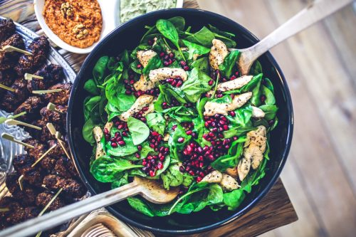 Chicken, Spinach, and Pomegranate salad