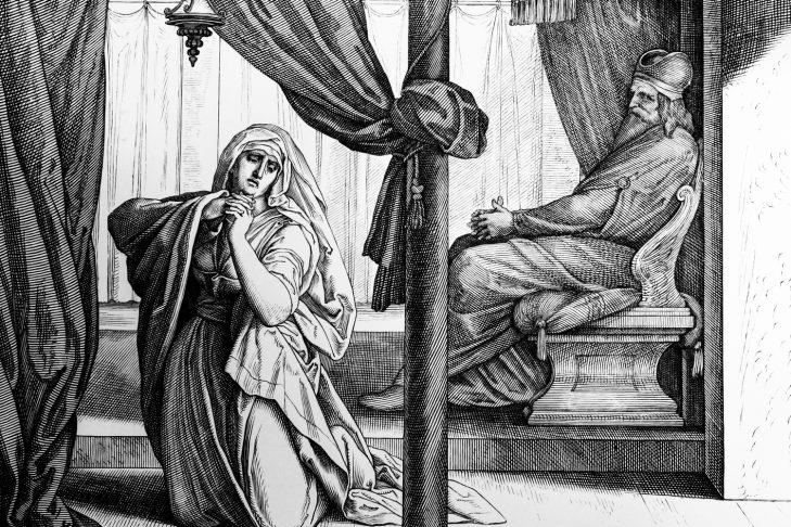 Hannah and Eli engraving by German painter Julius Schnorr von Carolsfeld