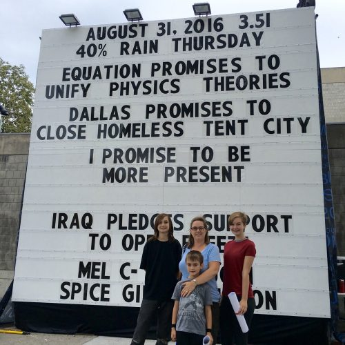 This family drove from Worcester to add their promises for Yom Kippur. (Courtesy Now + There)