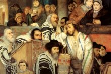 Jews praying in the synagogue on Yom Kippur (1878) by Maurycy Gottlieb.