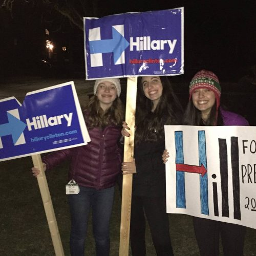 Abby, center, and her friends on Super Tuesday in 2016 (Courtesy Abby Richmond)