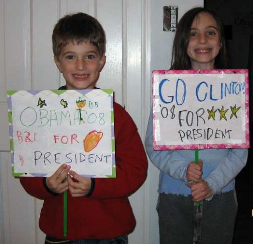 Abby and her brother on Super Tuesday in 2008