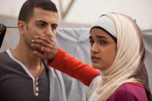 "Jalal Marsawa (left) and Lamis Ammar in ""Sand Storm,"" which screens Nov. 12 at the MFA. (KINO LORBER)"