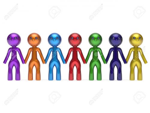Social network friends character teamwork chain line people diverse friendship row individuality team seven different cartoon persons unity meeting icon concept colorful. 3d render isolated