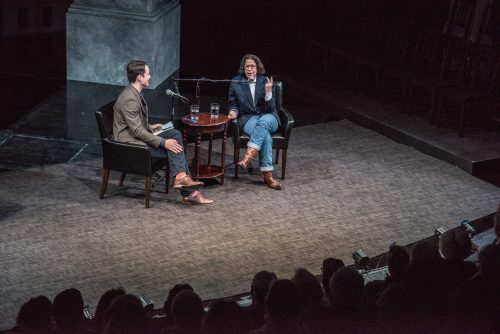Fran Lebowitz and Jared Bowen at the New Repertory Theatre (Courtesy New Repertory Theatre)