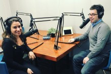 Jesse Ulrich, right, and Ariana Cohen-Halberstam recording the JewishBoston.com podcast. (Photo credit: Laura Mandel)
