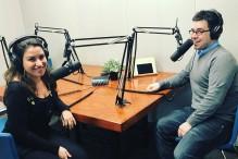 Jesse Ulrich, right, and Ariana Cohen-Halberstam recording the JewishBoston.com podcast. (Photo credit: Laura Mandel)