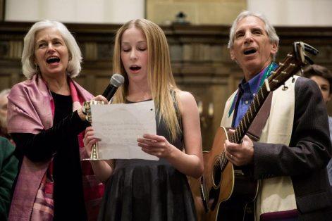 Rabbi Elaine Zecher, Olivia Gordon, 13, and Cantor Roy Einhorn sang at Temple Israel of Boston. (KAYANA SZYMCZAK FOR THE BOSTON GLOBE)